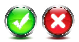 RRound glass button - validation and stop. Round glass button - - with shadows - validation and stop royalty free illustration