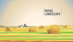 Rrual landscape with hay. Countryside landscape with hay and village stock illustration