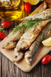 Rrussian traditional fish smelt on the wooden table Stock Photos