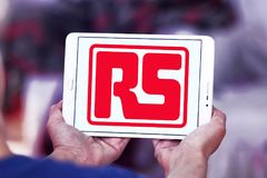 RS Components company logo. Logo of RS Components company on samsung tablet. The company supplies electronic components, electrical, automation and control, and stock images