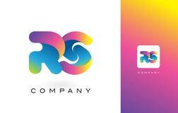 RS de Mooie Kleuren van Logo Letter With Rainbow Vibrant Kleurrijk t Stock Foto's