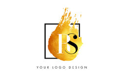 RS gouden Brief Logo Painted Brush Texture Strokes Stock Foto