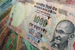 Rs. 1000 Indiańskich walut notatek - zakończenie Obrazy Royalty Free