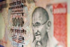 Rs. 1000 indiska valutaanmärkning - närbild Arkivbild
