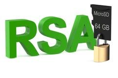 RSA-concept met slot Stock Afbeelding
