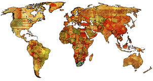 Rsa on map of world Stock Photos