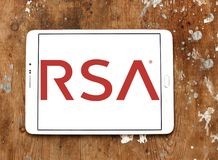 RSA Security company logo. Logo of RSA Security company on samsung tablet on wooden background. RSA, is an American computer and network security company Royalty Free Stock Images