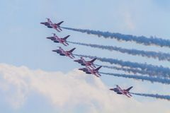 RSAF Black Knigts. The RSAF Black Knights performing at the Singapore Airshow, Feb. 2014 Royalty Free Stock Photography