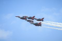 RSAF Black Knigts. The RSAF Black Knights performing at the Singapore Airshow, Feb. 2014 Stock Images