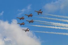 RSAF Black Knigts. The RSAF Black Knights performing at the Singapore Airshow, Feb. 2014 Stock Photography