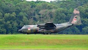 RSAF C-130 military transport plane landing Stock Images