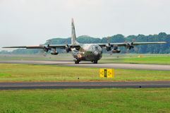 RSAF C-130 military transport plane taxiing Royalty Free Stock Images