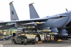 RSAF F-15SG Schlag-Adler auf Bildschirmanzeige Stockbild