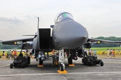 RSAF F-15SG Schlag-Adler auf Bildschirmanzeige Lizenzfreies Stockfoto