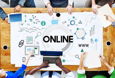 Réseau en ligne partageant le concept de système de WWW Images libres de droits