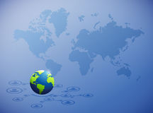 réseau global international au-dessus d'une carte du monde Image stock