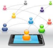 Réseau social de medias sur Smartphone Photographie stock