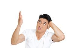 Rsentful man covering, loud noise Stock Photography