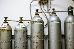 Réservoirs à gaz de CO2 de laboratoire Photo libre de droits