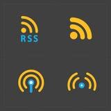 RSS标志象 RSS在黑色的饲料标志 图库摄影