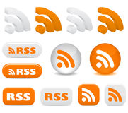 RSS. White and orange RSS icons Stock Images
