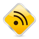 Rss 2 yellow square icon Royalty Free Stock Photos