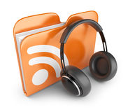 RSS audio folder. 3D Icon. RSS audio folder. Concept of podcast feed. 3D Icon Royalty Free Stock Photo