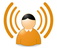Rss avatar. Rss or wireless person in orange colors vector illustration