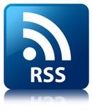 RSS błękita kwadrata guzik Zdjęcie Royalty Free