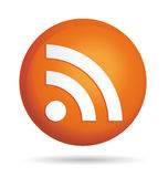 Rss ball icon. Orange rss ball vector icon