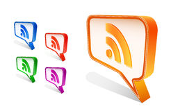 Rss bubble icon set Stock Images