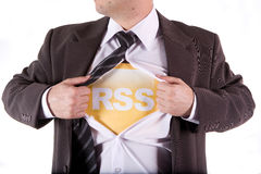 RSS businessman. RSS business man on the white background Stock Photos