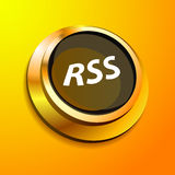 RSS button. 3D golden RSS button for web and interfaces Stock Photos