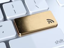 RSS button. RSS news gold button on keyboard with soft focus. 3d rendering illustration stock illustration
