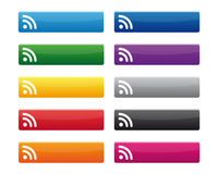 RSS buttons. Collection of RSS buttons in various colors Stock Photo