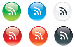 RSS colored glossy icons for web Stock Photos