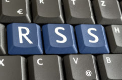 RSS concept. RSS spelled on computer keyboard Stock Photo