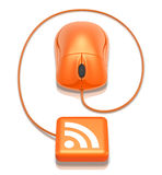 RSS Connection. 3D concept with orange mouse and RSS symbol stock illustration