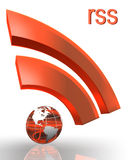 Rss with earth globe. Rss orange red symbol with earth globe clipping path included Stock Images