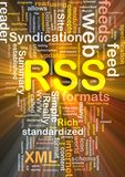 RSS feed background concept glowing. Background concept wordcloud illustration of internet RSS feed glowing light Stock Image