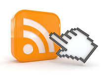 Rss or feed icon and cursor Stock Photo