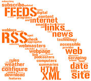 Rss feed sign tag cloud. RSS feed sign symbol  concept glowing Stock Photo