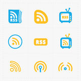 RSS feed symbols on White Background. Royalty Free Stock Images