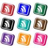 RSS feed web buttons. RSS square web buttons set in nine assorted colors. Isolated on white royalty free illustration