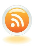 RSS Feeds Badge. Glowing RSS Feeds button in Vector format Stock Photography