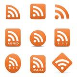 RSS geplaatste voerpictogrammen Stock Fotografie