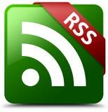 RSS-Grünquadratknopf Stockfoto