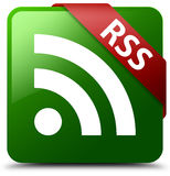 RSS green square button Stock Photo