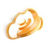 RSS het glanzende geïsoleerdee pictogram van de wolkentechnologie Royalty-vrije Stock Afbeeldingen