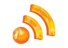 RSS icon. Shiny RSS orange 3d icon,  illustration Stock Photography